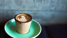 coffee in waffle cone